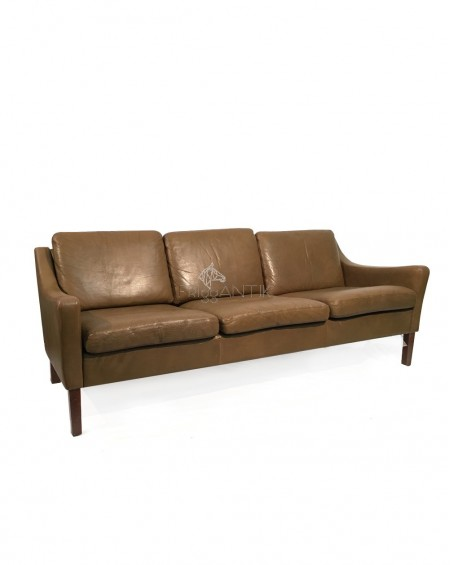 Three Seater Sofa in Brown Leather, Denmark