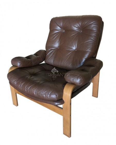 Swedish Brown Leather Lounge Chair, 1970s