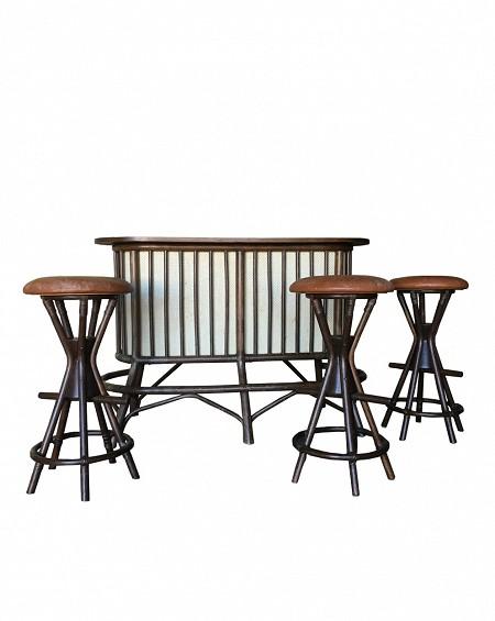 Barra de Bar con Taburestes de Bambú