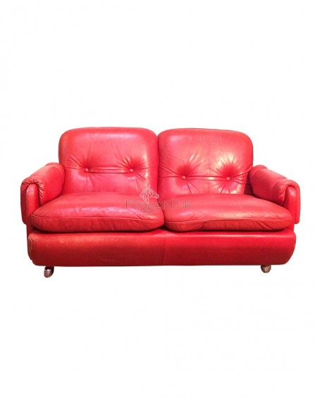 "Red Leather Sofa, ""Lombardia"", Risto Halme, IKEA, 1970s"