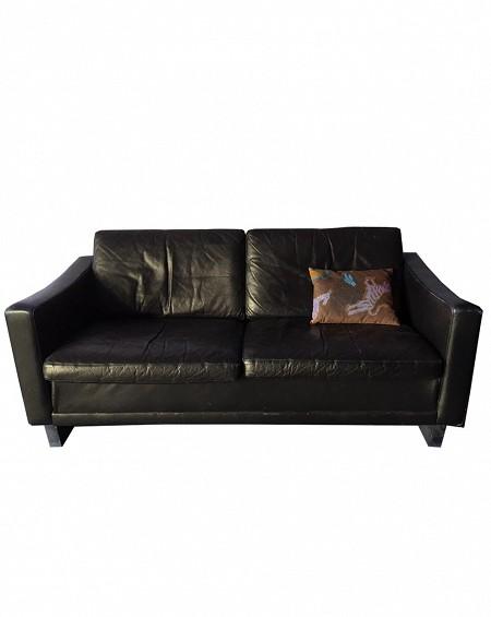 Nordic Brown Leather Sofa, Denmark