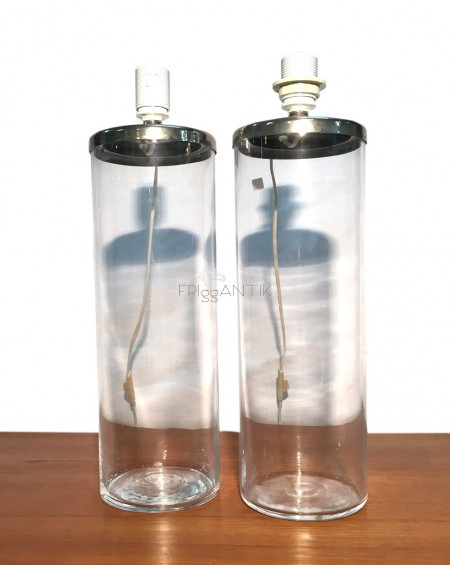 Pair of Glass Lamps, 1970s, Sweden