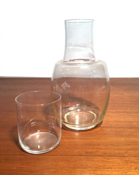 Antique Glass Bottle with a Drinking Glass