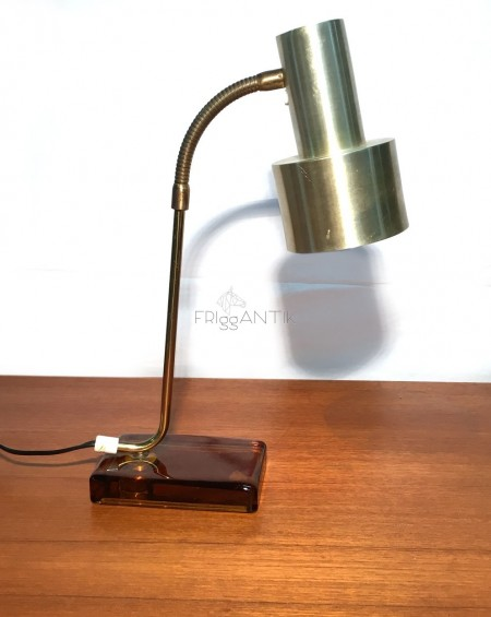 Glass and Metal Table Lamp, 1970s