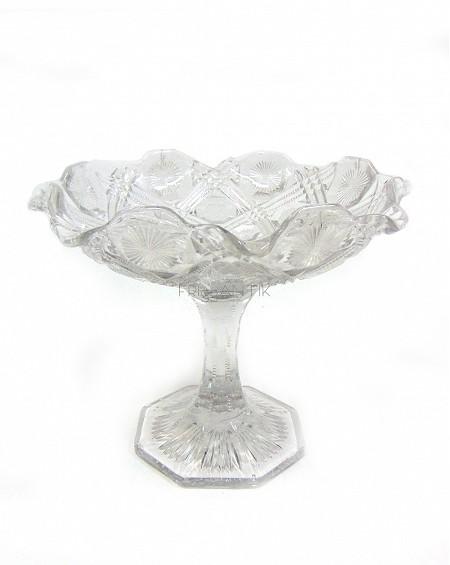 fuente de postre en cristal tallado