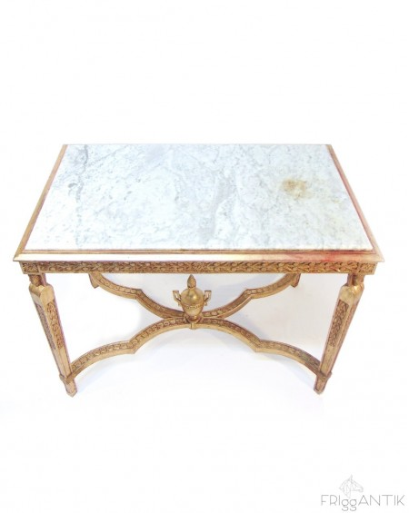 Neoclassic Golden Table with Marble