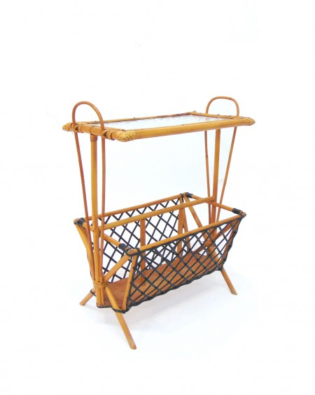 Magazine Rack in Bamboo and Glass
