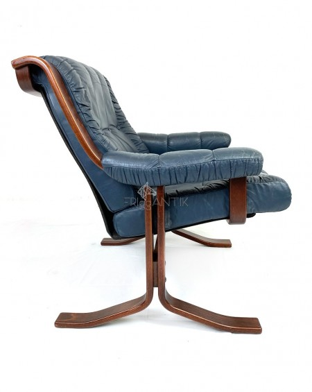 Teak and Leather Loungechair, 1970s, Norway