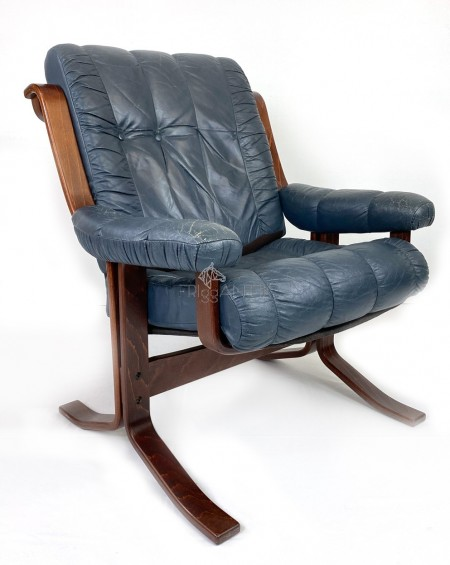 Teak and Leather Loungechairs, 1970s, Norway