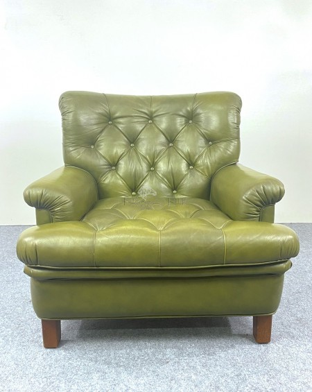 Arne Norell Green Leather Sofa