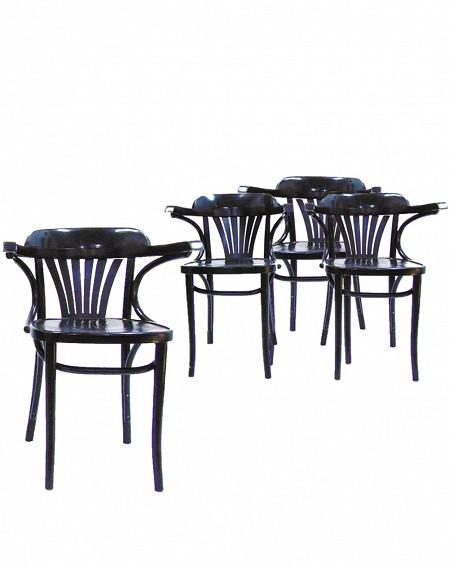 Cuatro Sillas Comedor laca negra